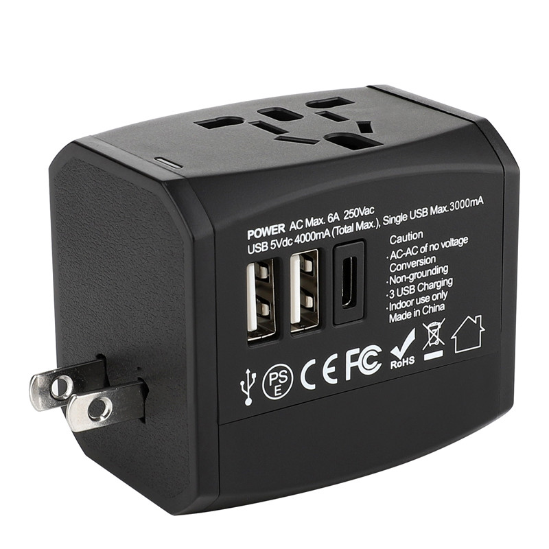 RRTRAVEL new custom smart world universal travel adapter with usb fast charger power plug for European UK US Australia