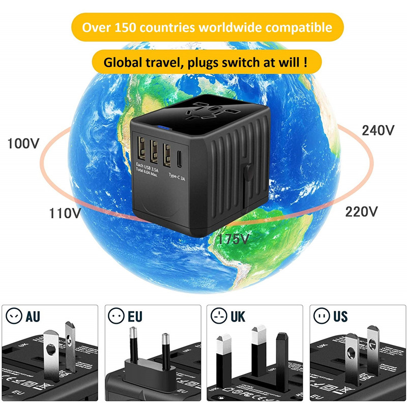 RRTRAVEL International Travel Adapter Universal Power Adapter Worldwide All in One 4 USB with Electrical Plug Perfect for European US, EU, UK, AU 160 Countries