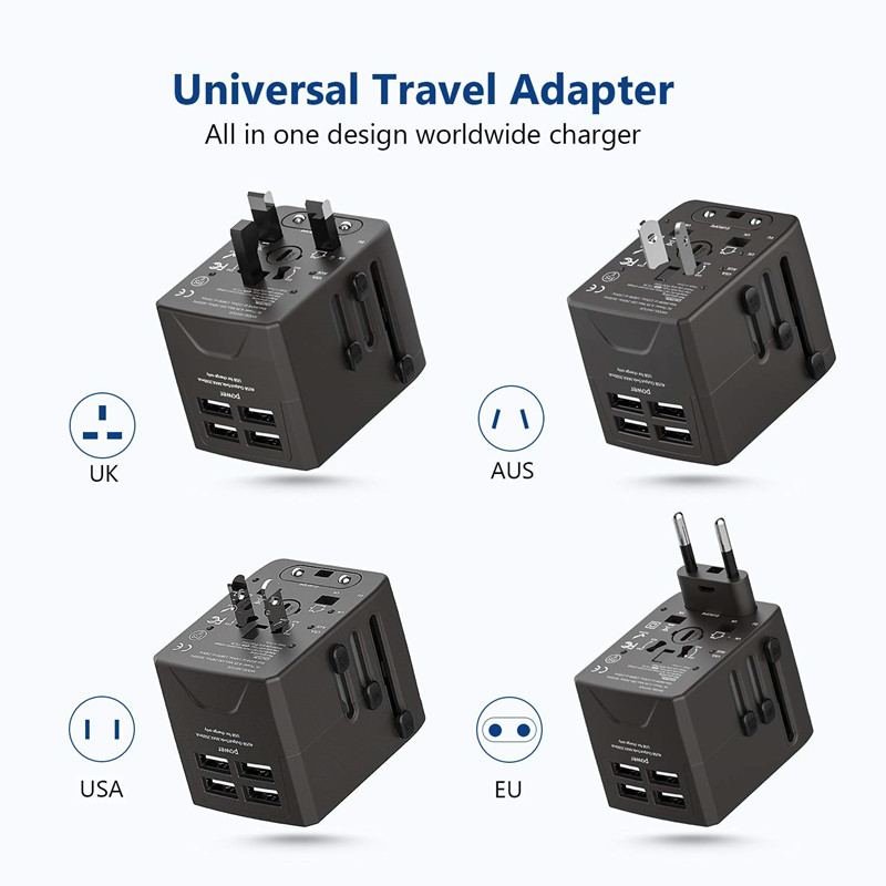 RRTRAVEL Power Plug Adapter - International Travel - 4 USB Ports for 150+ Countries - 220 Volt Adapter - Travel Adapter Type C Type A Type G I f UK EU Europe European (4 USB Travel Adapter)