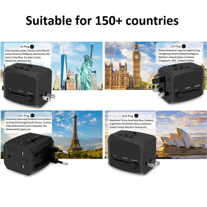 RRTRAVEL Universal Travel Adapter, All-in-one International Power Adapter with 4A 3 USB, European Adapter Travel Power Adapter Wall Charger for UK, EU, AU, Asia Covers 150+Countries