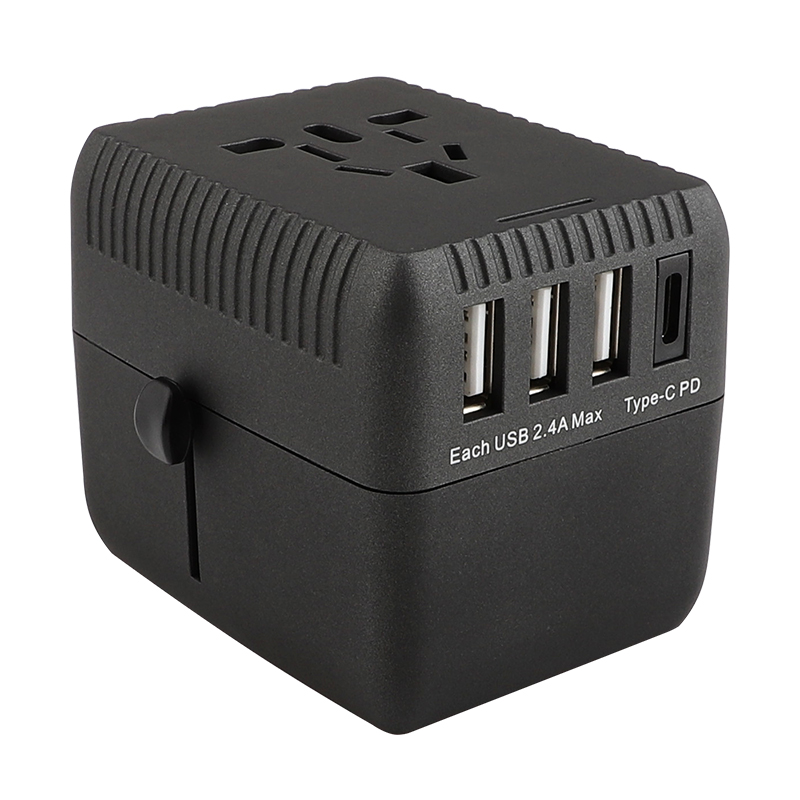 PD Universal Travel Adapter One International Wall Charger AC Plug Adaptor with 5A Smart Power and and 3.0A USB Type-C for USA EU UK AUS