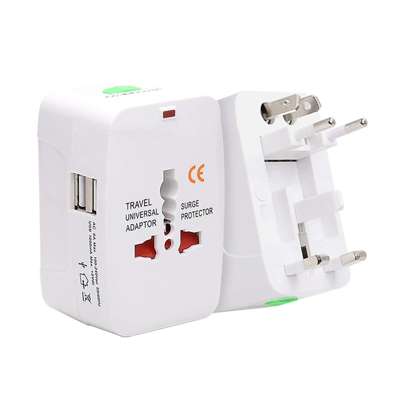 RRTRAVEL 931D Worldwide Travel Power Adapter, Universal Travel Adaptor AC Power Plug Adapter with Dual USB Ports for USA EU UK AUS Cell Phone Laptop Covers 150+ Countries