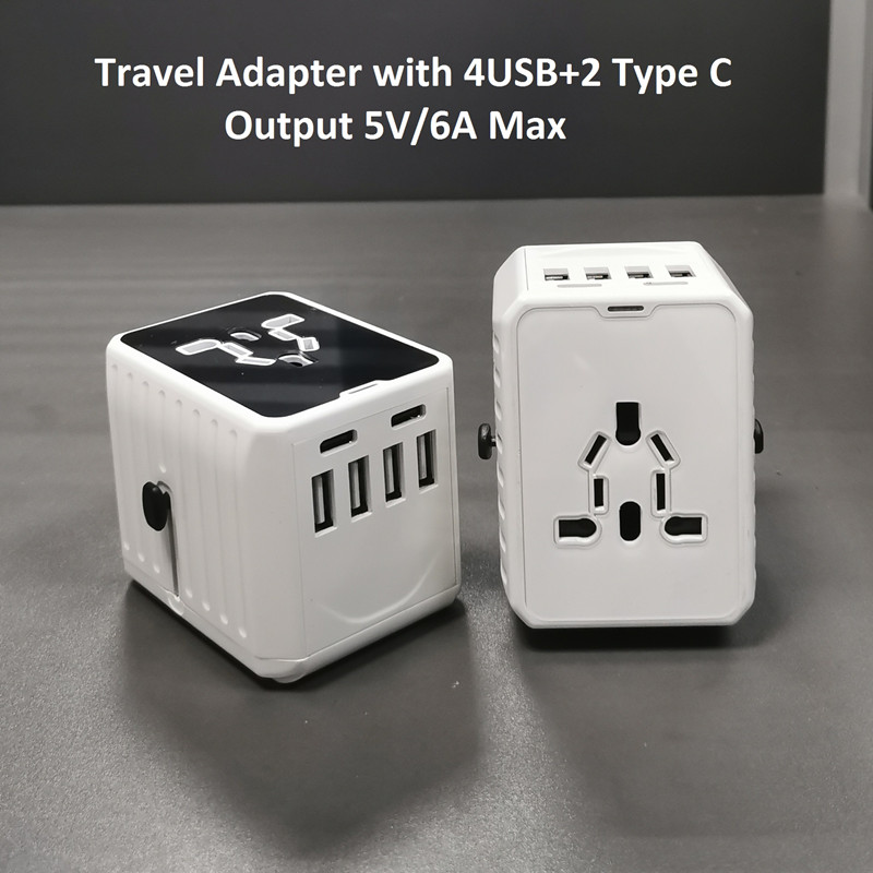 One type C not enough?  2 Type C + 4USB universal travel adapter come!