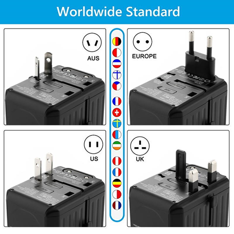 2020 new 110-250V US AUS UK EU plug mobile phone accessories 6USB charger 6A output universal travel adapter with 4USB+2Type-C
