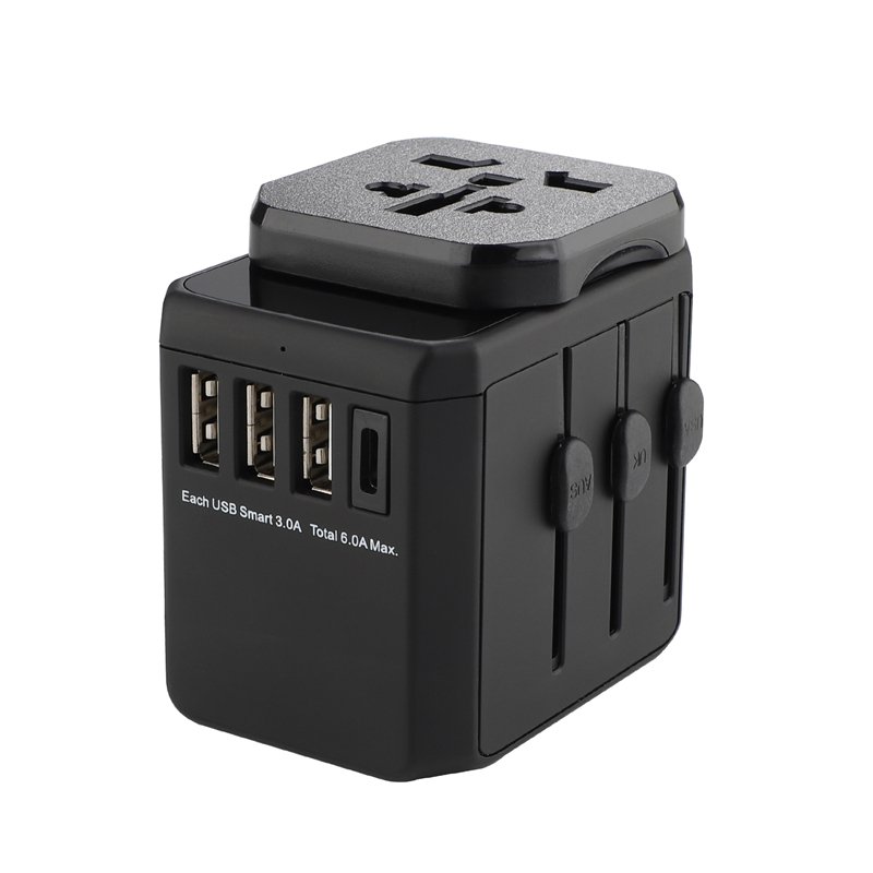 Grouding worldwide plugs universal 3 USB + Type C port standard grounding multipurpose travel adapter